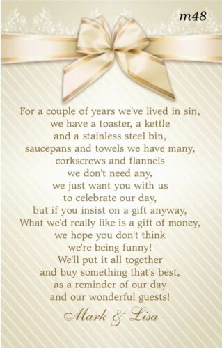 Ask For Money Brand New Wedding Poem Cards Invitation Inserts Money Cash Gift