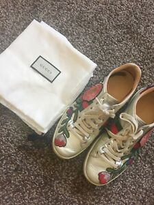 ade60bf5044 Image is loading Gucci-Ace-Floral-Embroidered-Metallic-Leather-Sneakers -Womens-