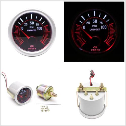 2/'/' 52mm Round DC12V Car LED Bar Turbo Oil Pressure Gauge Meter Red Illuminated
