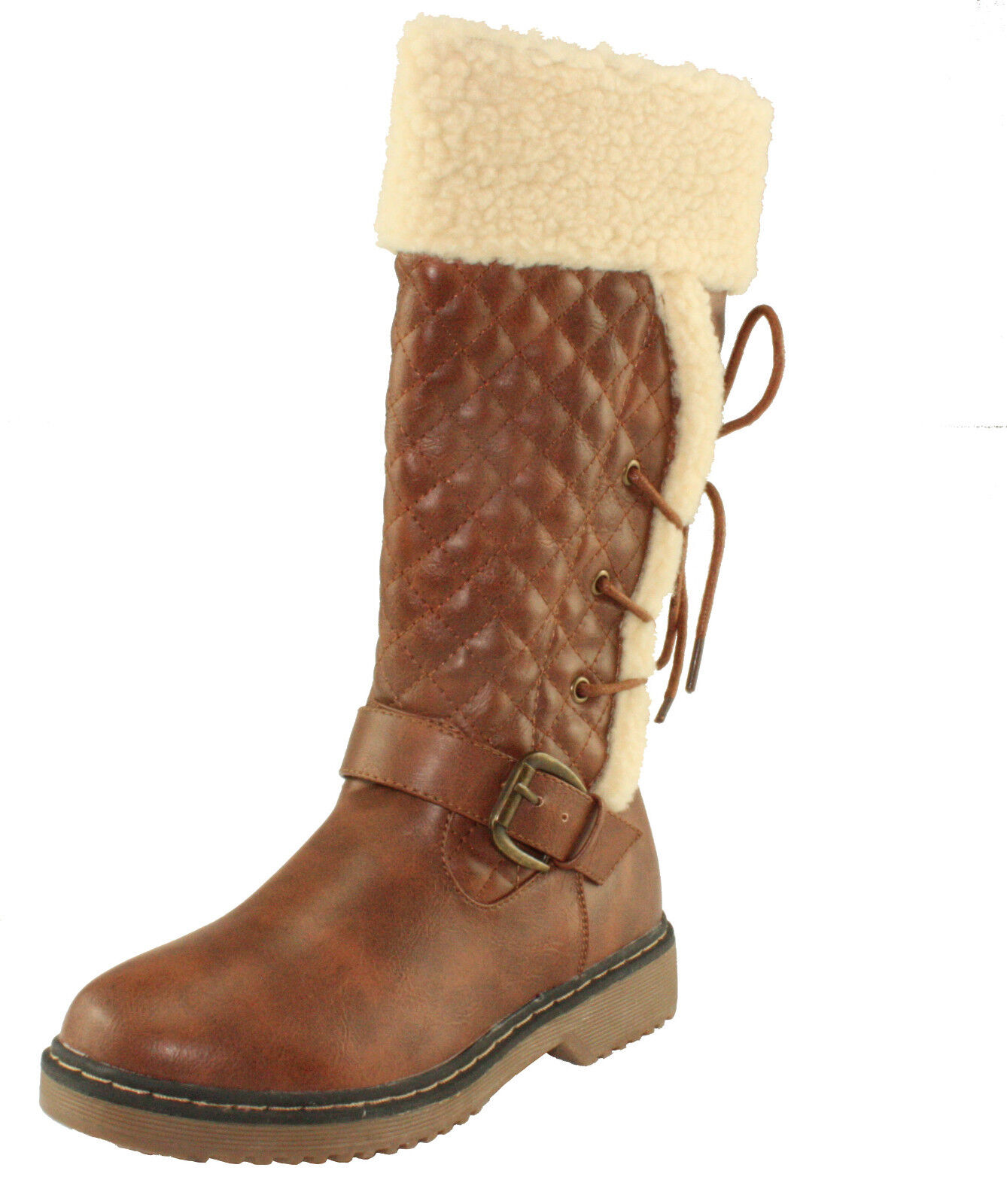 Forever Alyson-42 Comfort Knee High Pull-on Lace up & Buckle Decor Winter Boots