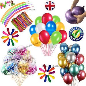 "METALLIC LATEX Pearl Chrome Ballons 12"" Hélium Ballon Happy Birthday Party"