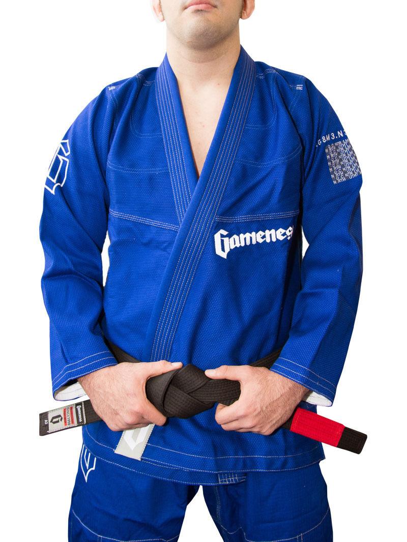 Nuovo    gioconess Lunghi Peli Bjj Gi Bjj Jiu Jitsu Gi Uniforme Kimono Blu 378