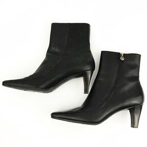 Etienne-Aigner-Womens-Sz-8-Dark-Brown-Ankle-Boots-E-Day-Leather-Side-Zip