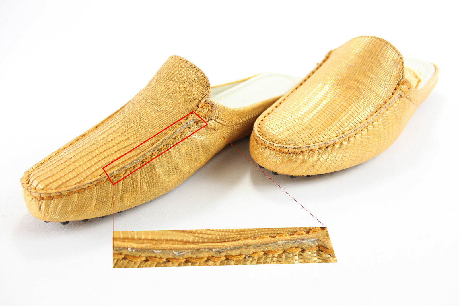 1b68ce580f0 Tod s Women s Luxor Croc Leather Backless Loafers Gold Size 6 for sale  online