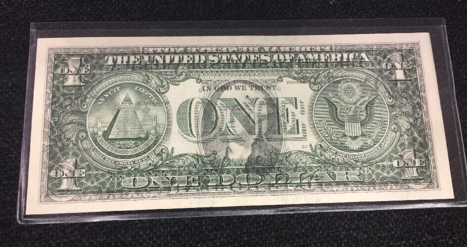 2006 $1 dollar bill. FRONT TO BACK OFFSET TRANSFER ERROR