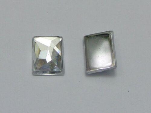 Acrílico Transparente de 100 diamantes de imitación de rectángulo Flatback Facetado Gemas 10X14mm sin agujero