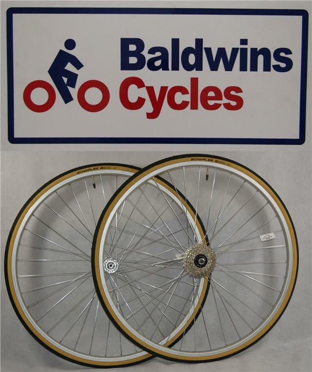 27  x 1 1 4 PAIR Bike Wheels + Premium Amber Wall Tyre's & 5 Speed Freewheel