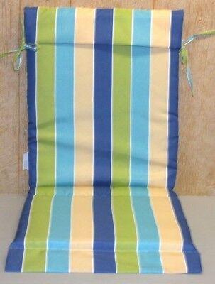 (2) Esterno Patio Fionda Sedia Cuscini ~ Blu Verde Righe ~18.5 x 47 x 1.5 Nuovo | eBay