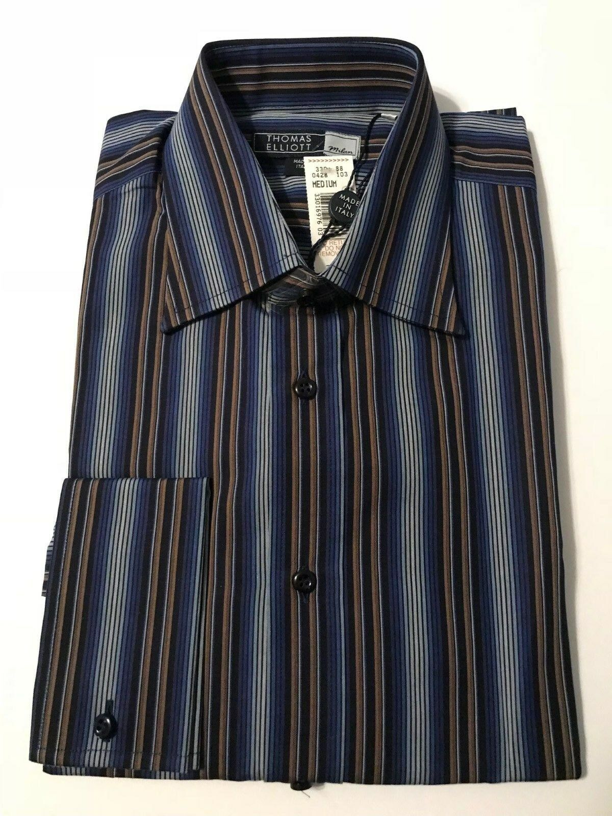 Thomas Elliott Milan bluee Varied Stripe French Cuff 100% Cotton Shirt Size M
