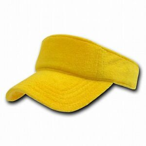 Details about New Yellow Terry Cloth Golf Tennis Plain Adjustable Sun Visor  Cap Caps Hat Hats e2c3cc995fc