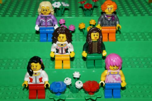 LEGO 6x BEAUTIFUL MINIFIGURES FEMALE GIRLS//WOMANS WITH FLOWERS