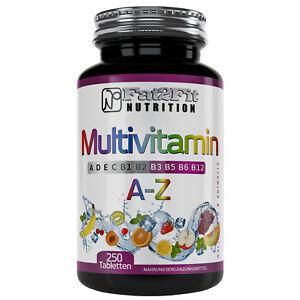 Multivitamin-A-Z-250-Tabletten-Vitamine-Mineralien-Spurenelemente-A-bis-Zink