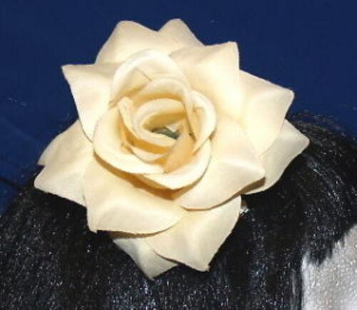 Grande Avorio Panna Rosa Fiori Rockabilly 30,40's Capelli Grip