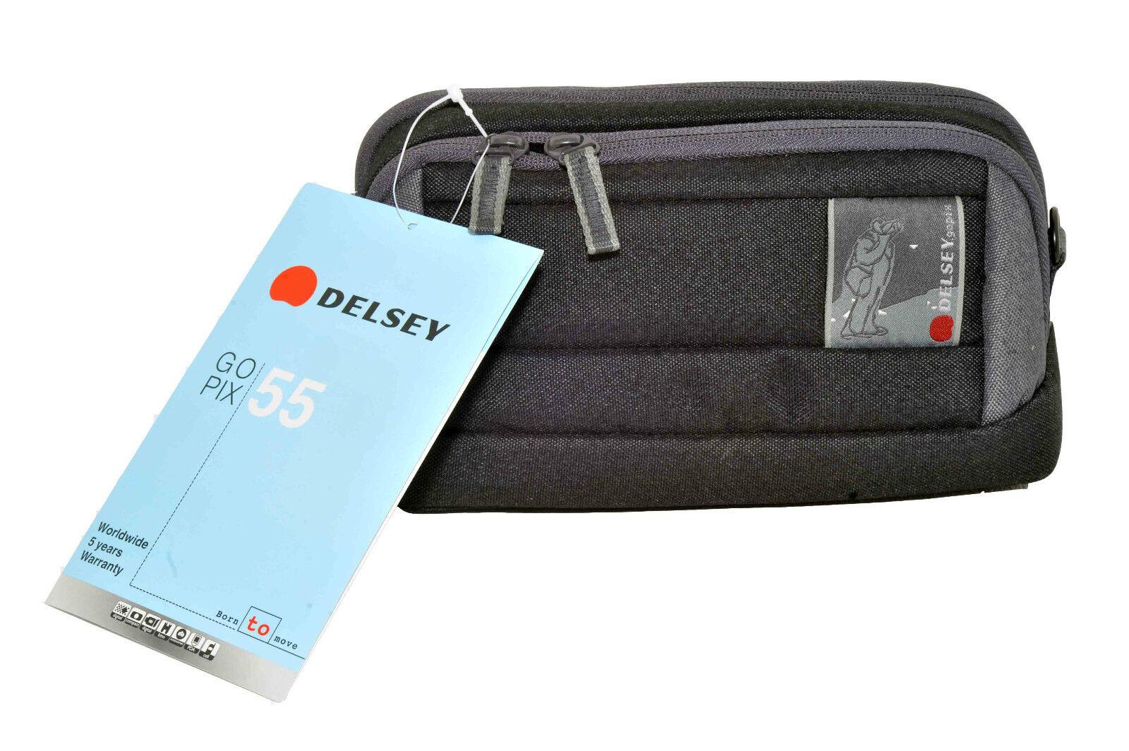 Delsey GOPIX 55 - Belt Pack for Camera - Fabric - Gray, Black Bum Bag