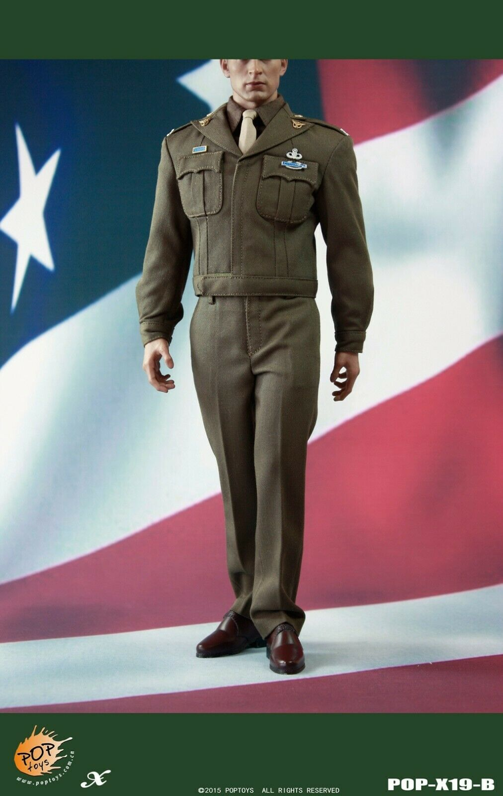 POPgiocattoli X19 WWII oroEN AGE US Army Officer CAPTAIN Uniform B 16