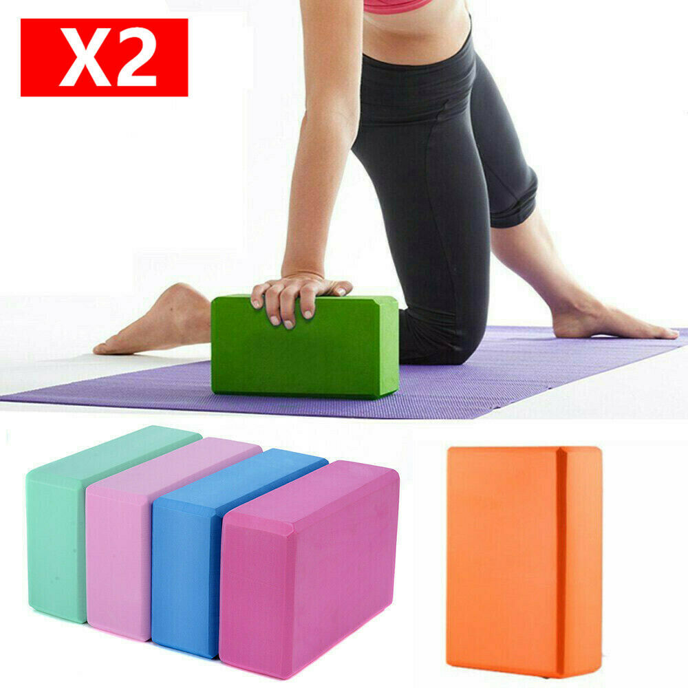 2 pcs Yoga Block Foam Brick Stretching Aid Gym Pilates For Exercise Fitness