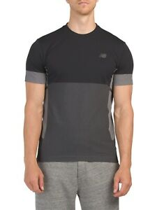 New-balance-AUTHENTIC-MEN-039-S-Black-Stretch-Cuello-Redondo-Mangas-Cortas-Camiseta-Talla-M