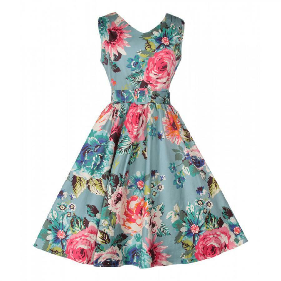 DTO. -20%   Vestido midi cocktail vintage print floral Blau swing V-neck dress P