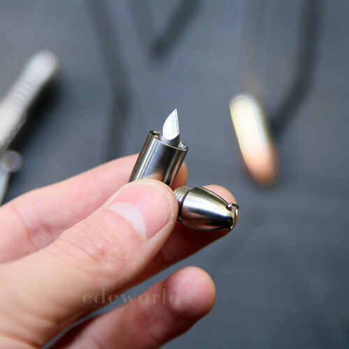 EDC Titanium// Brass Bullet Style Necklace Pendant Design Key chain Cutter WR-V