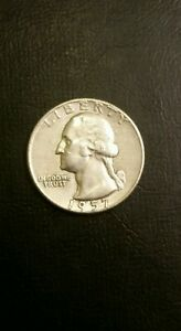 1957 D Washington Quarter 90/% Silver Very Fine VF