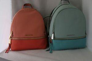 890949e9acbf Michael Kors Rhea Zip Colorblock Medium Backpack - Celedon Azure or ...