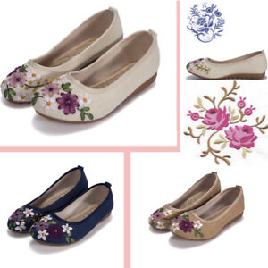 Hot-Sale-Women-039-s-Embroidered-Flower-Flats-Shoes-Chinese-Slip-On-Loafers-Casual