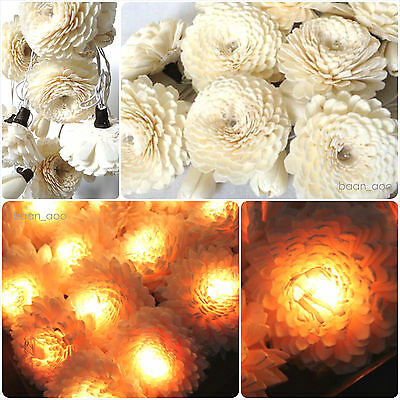 WHITE JASMINE FLOWER STRING FAIRY LIGHTS DECOR WEDDING VALENTINE PARTY PATIO SPA
