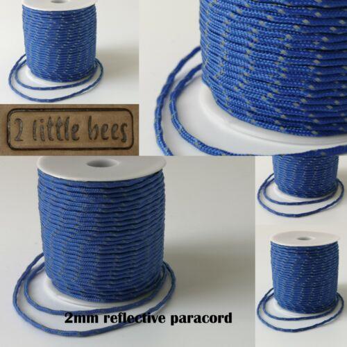 2mm Reflective Paracord Blue Strong Cord Rope String Paracord Camping  DIY UK