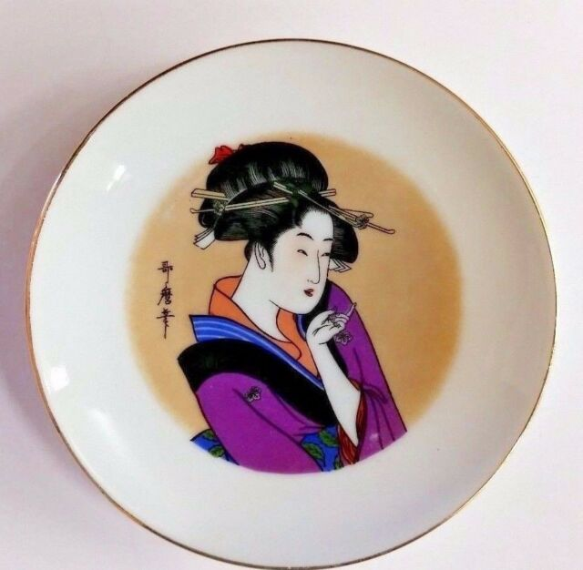 "ANTIQUE Kutani Hand Painted w Gilt Accents CABINET 7.5/"" PLATE Japanese Geisha!"