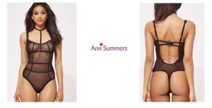 Ann-Summers-Lattice-Diamond-Body-Barley-Black-Size-Uk-Small-New-With-Tags