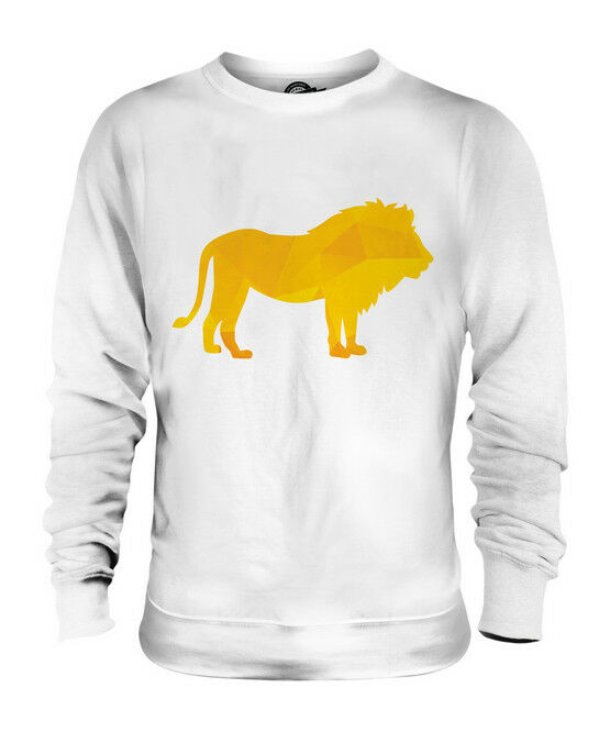 GEOMETRIC PATTERN LION UNISEX SWEATER  TOP GIFT TRIANGLE KING