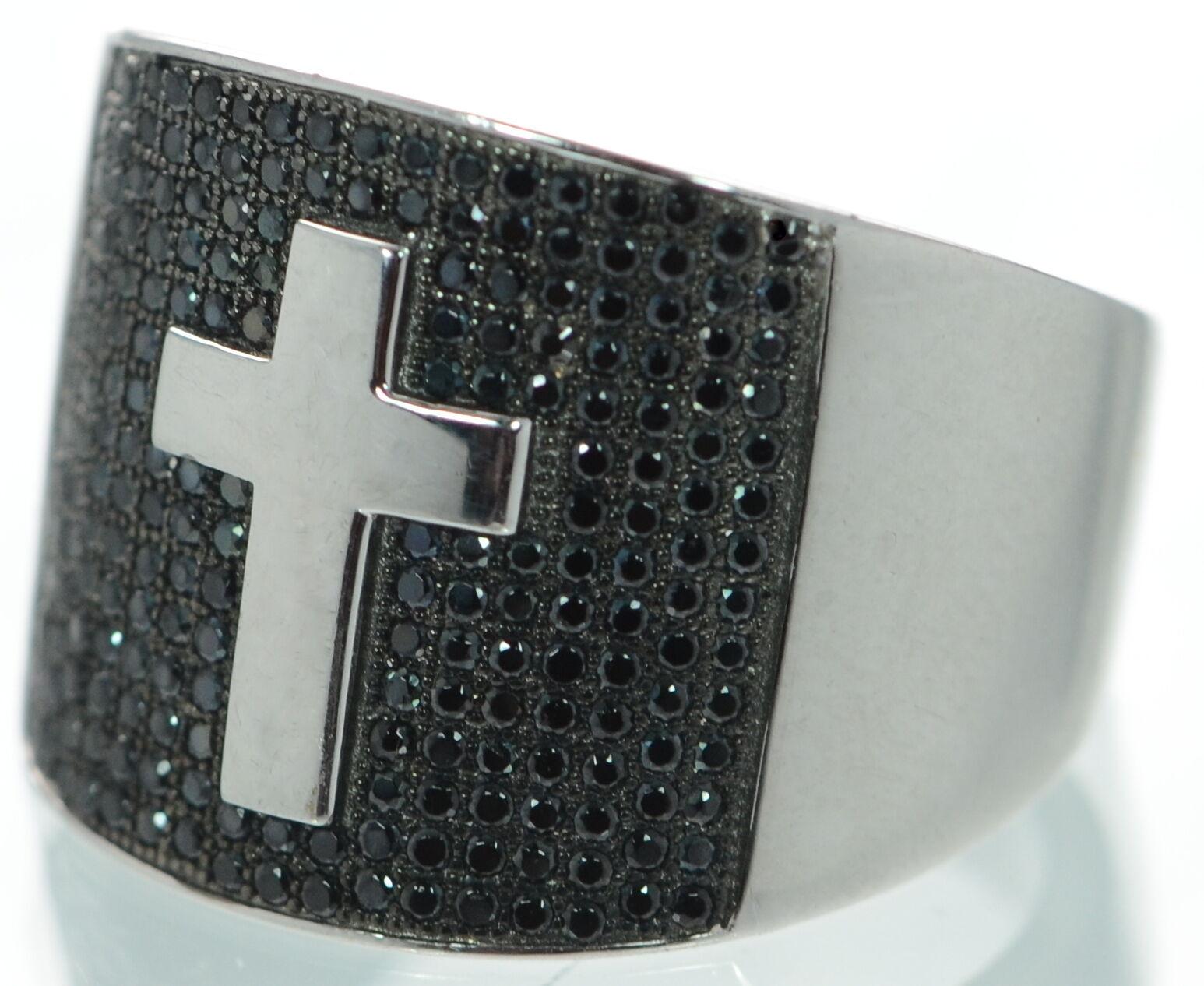 Massiccio 925 argentoo di Qualità Nero Nero Nero Diamanti Finti Uomo Anello Croce Dimensione-2.7m 71e9b4