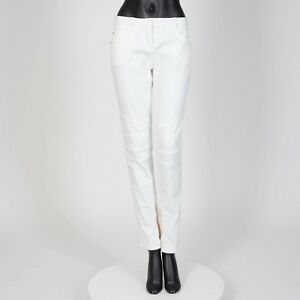 BALMAIN-990-Authentic-New-White-Cotton-Mid-Rise-Skinny-Biker-Jeans
