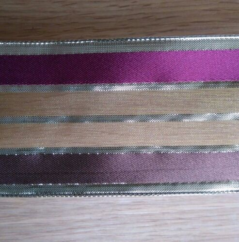 Wire Edge Christmas Ribbon Gold brown burgundy green 63mm Satin Organza Stripe