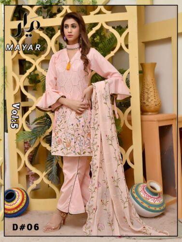 Original Mayar Chicken Kari 3pcs Suit with Embroided Chiffon Dupatta