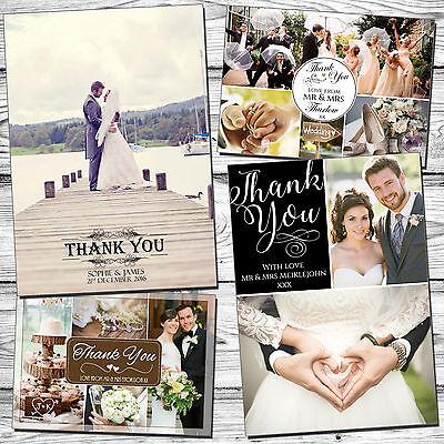 Obbediente 10 Matrimonio Personalizzati Ringraziamenti Con Buste E Foto Piegata Cartolina- Adatto Per Uomini, Donne E Bambini