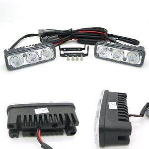12V-3-LED-White-High-Power-Car-DRL-Daytime-Running-Light-Fog-Lamp-Universal-mh
