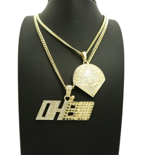 "OHB Pendant 24/"",30/"" Cuban Chain 2 Necklace Set Hip Hop Iced Out Black Pyramid"