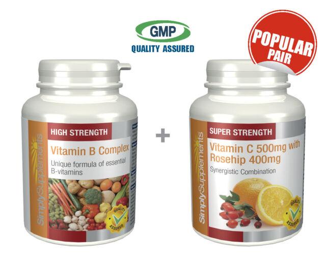Vitamin B Complex 360 Tablets & Vitamin C 500mg Rosehip 20mg 360 Tablets