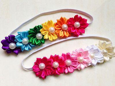 Fashion Newborn Baby Flower Bow Headbands Colorful Photography Props Headdress