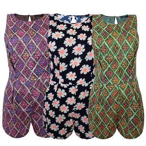 Nuevas-senoras-para-mujer-Cachemira-Flor-Mono-Estampado-Azteca-Mono-corto-vestido-de-cremallera-en