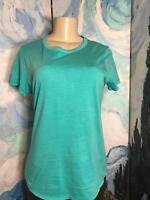 Gap M Solid Green Round Neckline Cotton Round Hemline Short Sleeve Top