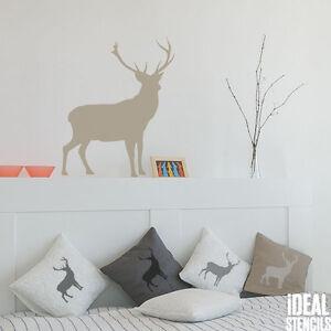 DEER-CIERVO-silueta-Plantilla-reutilizable-casa-pared-decoracion-arte-pintura