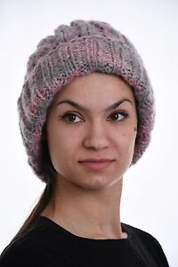 b31fd235e8b Image is loading Hand-knit-Chunky-BEANIE-Cable-knit-Slouchy-Beanie-
