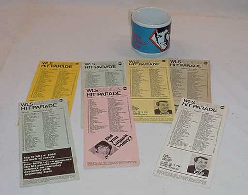 WLS AM RADIO 89 LARRY LUJACK HIT PARADES AND COFFEE CUP STEVE DAHL NEMESIS