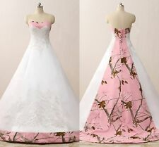 Pink Camo Wedding Dresses Ball Gown Camouflage Embroidery Appliques Bridal Gowns