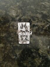 Antique Art Deco Women's Platinum & 14 K Rose Gold Diamond Ring 1920's APV $2600