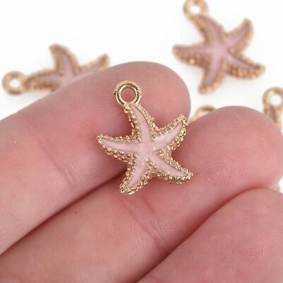 chs3699 10 Pink Starfish Charms 18mm Gold Plated with Enamel Beach Charms