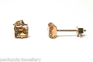 9ct-Gold-Citrine-Square-Stud-earrings-Gift-Boxed-Studs-Made-in-UK