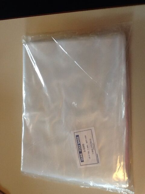200 CLEAR 16 x 20 POLY BAGS PLASTIC LAY FLAT OPEN TOP PACKING ULINE BEST 1 MIL Material Handling Packing & Shipping Bags